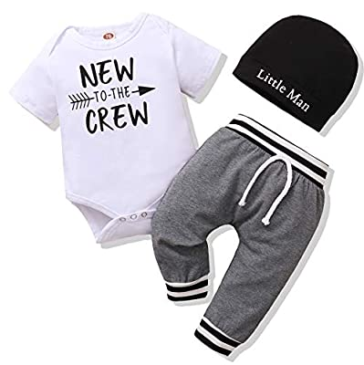 Newborn Baby Boy Clothes Short Sleeve Romper Outfits Set New to The Crew Outfits Baby Boy Clothes 0-3 Months Gray from