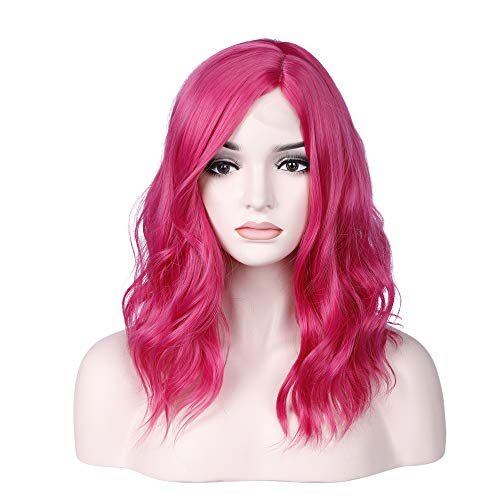 incohair 14 Inches Hot Pink Wig Short Curly Wavy Bob Wigs Side Part Lace Scalp Synthetic Wigs for Women Girl (Hot Pink)