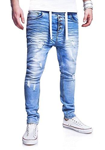 MT Styles Jogg-Jeans Buttons Hose RJ-289 [Hellblau, W34]