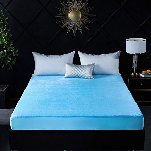 ChileYile Funda de Cama de sábana Impermeable de Franela Color sólido y patrón Adecuado para Dormitorio-azulEl 180 * 200cm