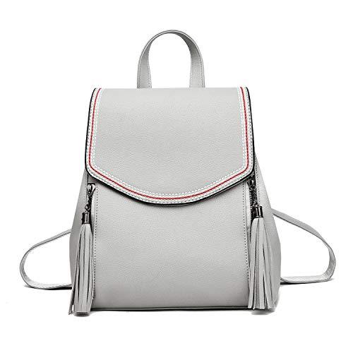 I IHAYNER Rucksack Damen Geldbörse PU Leder Flap Rucksack Frauen Umwandelbarer Kleiner Rucksack mit Quaste Umhängetasche Daypack für Mädchen Grau