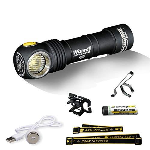 LED-Stirnlampe Armytek Wizard Pro v3 XHP50 Warmweiß Magnet USB Aufladbare 18650 Li-Ion Akku Inklusive