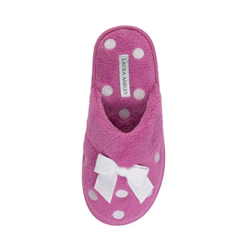 Laura Ashley Ladies Dot Embroidered Soft Terry Plush Scuff Slippers Magenta
