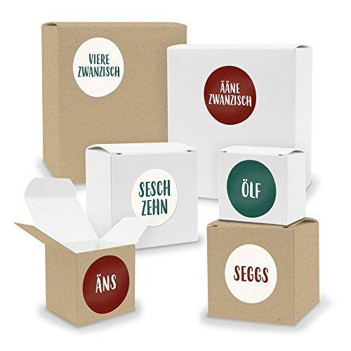 DIY itenga AdventskalenderSet V03 zum Selberbefüllen 24x Quader Würfel gemischt WEISS/BRAUN (Kraftkarton) + Sticker (Motiv Z27 Saarländisch)