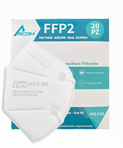 20x ARCOM - Masken FFP2 - CE-zertifiziert - Box 20 Stück