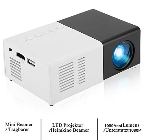 LED USB HD Mini Portable Video Projector, Support MPG , AV , TS , MOV , MKV , DAT , MP4 , VOB, 1080P HDMI Home Theater Projector, Mini Multimedia Smart Projector, Best Party Gift(US)