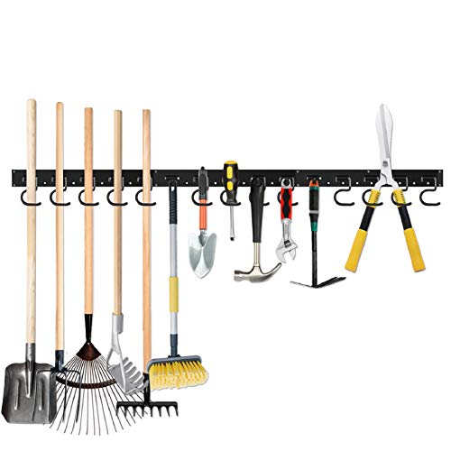 64 Inch Garage Hooks Tool Organizer Wall Mounted, Adjustable Storage System Wall Organizer for Garden Tools, Heavy Duty Tool Hanger for Rake, Mop,Broom and Yard Tools