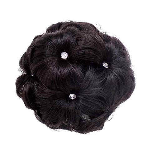 Raaya Decorative Stone Design Juda Extension Hair Bun Natural Black Brown For Women And Girls Pack Of 1