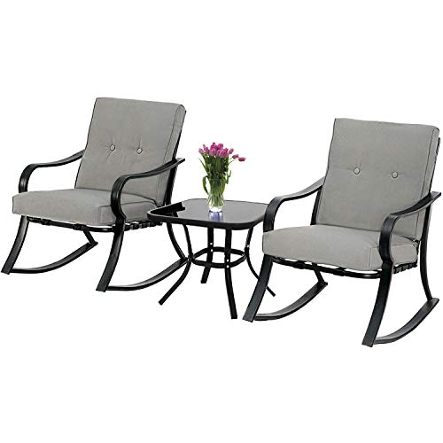 SUNCROWN Outdoor 3-Piece Rocking Chairs Bistro Set, Black Steel Patio Furniture with Grey Thickened Cushion and Glass-Top Coffee Table