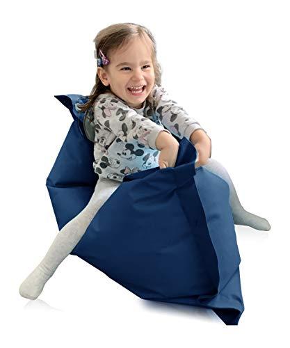 alibey Sitzsack Rechteckig Junior | Indoor und Outdoor Sitzkissen speziell für Kinder in 16 Farben (XS = 70 x 100, Marine)