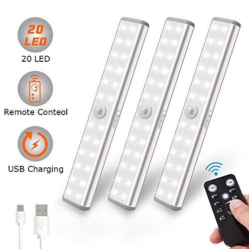 Litake LED Schrankbeleuchtung USB, 20 LED Kabellos Unterbauleuchte Küche Fernbedienung Aufladbar Aufkleben Nachtlicht für Wandschrank(USB Wiederaufladbar 20 LED 3er Pack)