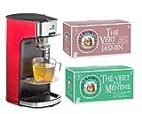Senya Set Machine à thé, théière électrique rouge Tea Time & Lot de 2 boites de thé - 60 sachets - Les 2 Marmottes (Thé vert à la menthe & Thé vert aux fleurs de jasmin)
