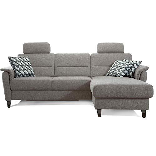 Cavadore Ecksofa Palera mit Federkern / L-Form Sofa mit Longchair rechts / 244 x 89 x 164 / Stoff Hellgrau