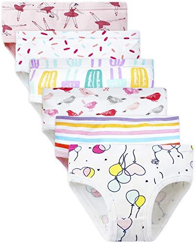 Adorel Mädchen Unterhosen Slips Baumwolle 6er-Pack Ballett & Ballon 98-104 (Herstellergröße 110)