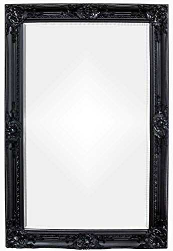 Rococo by Casa Chic - Schwarzer Shabby Chic Wandspiegel - 90 x 60 cm - Handgefertigter Spiegel - Barock - Groß - Massivholz - Antik Schwarz
