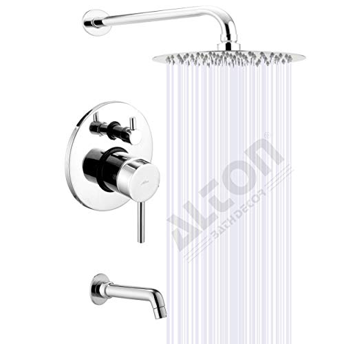 ALTON LEO13050 Brass Concealed Body High Flow Diverter Full Set with Bath Tub Spout and SS-304 Grade 8-INCH Overhead Shower,...
