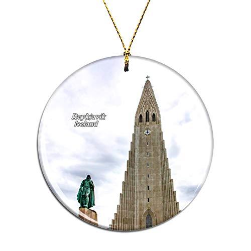 Weekino Iceland Hallgrimskirkja Reykjavik Christmas Xmas Tree Ornament Decoration Hanging Pendant Decor City Travel Souvenir Collection Double Sided Porcelain 2.85 Inch