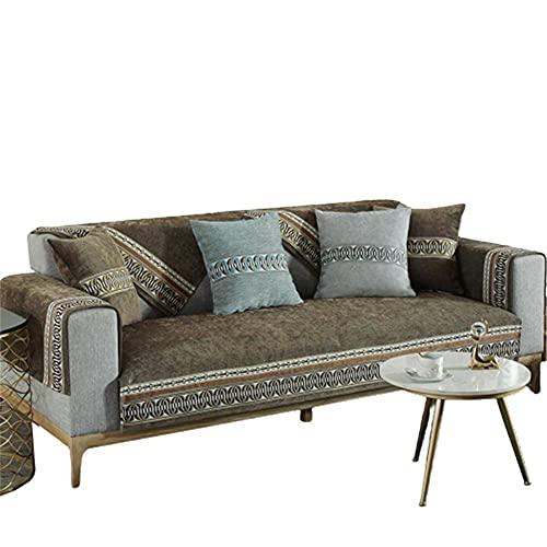 Funda de sofá de Madera Maciza de Cuero Chenilla,Funda de sofá,Fundas de sofá seccionales,café,110 * 180 cm