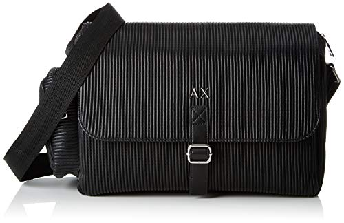 Armani Exchange Herren Logo Messanger With Pocket Business Tasche, Schwarz (Black), 25x11.5x39 cm