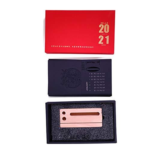 KLOVA Calendario de Escritorio, Año Nuevo Chino 3D 2021 Calendario de Escritorio Grabado Artesanía Bolígrafo de Escritura Base de Madera Decoración-Sin bolígrafo