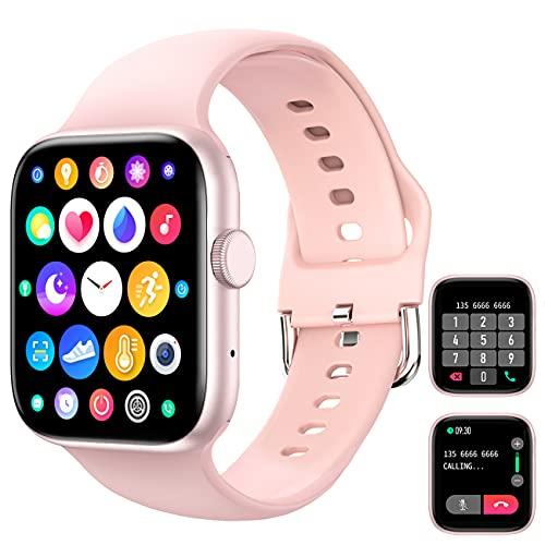 Smart Watch (Empfangen / Tätigen eines Anrufs), 1,72 '' Full Fitness Armbanduhr mit Bluetooth-Anruf Pulsuhr Blutdruck Sauerstoff Schrittzähler Schlaf Tracker Sportuhr für Frauen Männer iOS Android