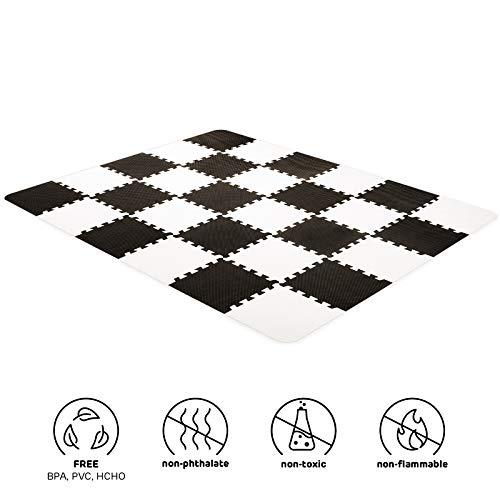 Kinderkraft Spielmatte LUNO, Erlebnismatte, Puzzlematte, Krabbelmatte, aus Schaumstoff, 30 Puzzleteile im Set, für Kinder ab 10 Monate, Schwarz Weiß