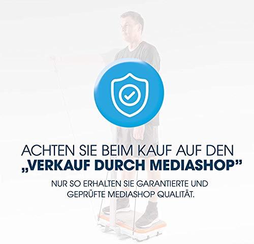 Mediashop VibroShaper – Fitness Vibrationsplatte unterstützt bei Muskelaufbau und Fettverbrennung – Vibrationstrainer für alle Muskelgruppen – inklusive Fitnessbänder – orange mit Griff - 6