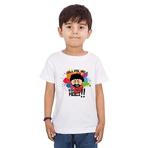 LIMIT Fashion Store - Holi Kab Hai!! Kab Hai Holi Gabbar Style COlorful Holi Gift Kids T-Shirt (KTPC253_White_5-6 Years)