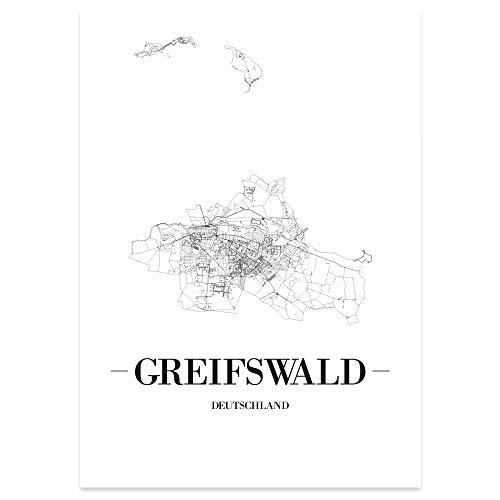 JUNIWORDS Stadtposter - Wähle Deine Stadt - Greifswald - 30 x 40 cm Poster - Schrift A - Weiß