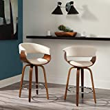 OFM 161 Collection Mid Century Modern 26' Low Back Bentwood Frame Swivel Seat Stool, Vinyl Upholstery, in Ivory