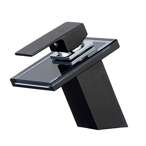 Glas Wasserfall Waschtischarmatur schwarz Bad Wasserhahn Armatur Waschbecken