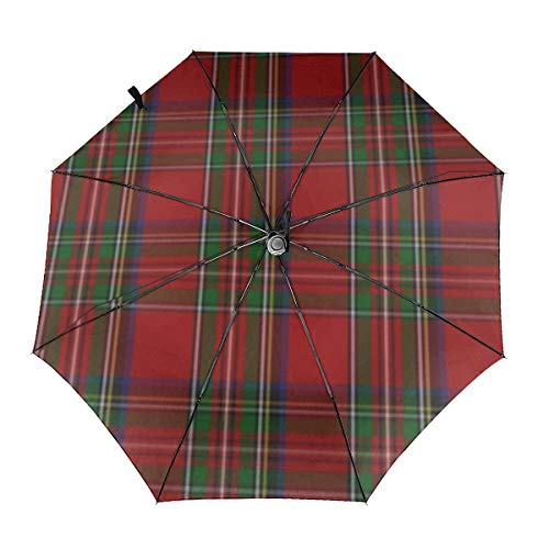 Elegante paraguas de cuadros escoceses Royal Stewart, resistente al vi
