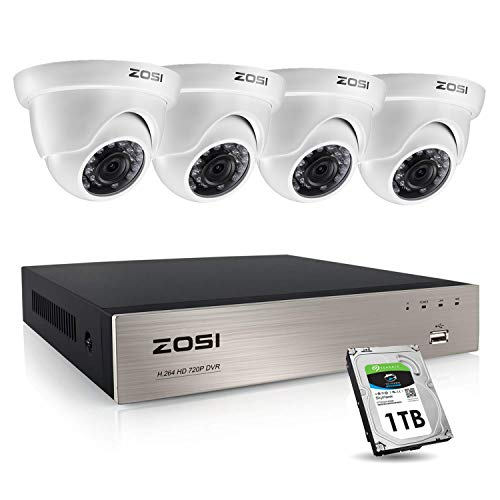 ZOSI Home Security CCTV Camera System 4x 1080P 2MP Dome...