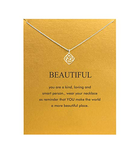 Baydurcan Hundred River Rose Necklace Rose Pendant Chain Necklace with Message Card Gift Card (Roses)