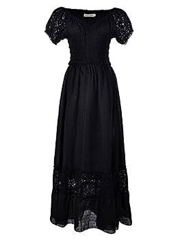 Anna-Kaci Renaissance Peasant Maiden Boho Inspired Cap Sleeve Lace Trim Dress Black Small