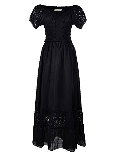 Anna-Kaci Renaissance Peasant Maiden Boho Inspired Cap Sleeve Lace Trim Dress, Black, Small