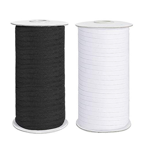 COTTILE Elastic Cord, Flat Elastic Bands for Sewing 1/4 inch Braided Stretch Strap Cord Roll (Black, 25 Yards)
