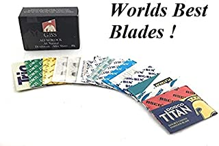 GBS Double Edge Razor Blade Sample Pack - Variety of 16 High Quality Safety Blades for Shaving Razors, Knives, Shavette and More + Bonus GBS Alum Block