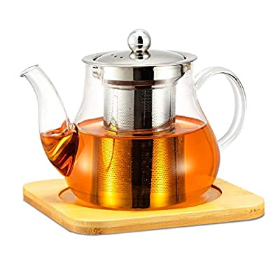Glass Teapot with Removable Stainless Steel Infuser for Loose Leaf Tea, Microwave and Stovetop Safe, Matching Coasters for Teapot & Infuser, Gooseneck Kettle Tea Brewer, 600mL/21oz