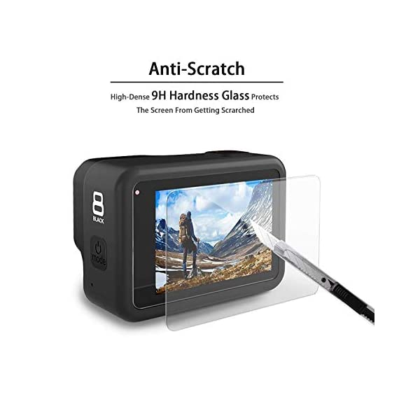 [6pcs] FINEST+ Screen Protector for GoPro Hero 8 Black Tempered Glass Screen Protector + Tempered Glass Lens Protector… 6 【Secifically Design】 Compatible with GoPro Hero 8.Black action camera Only. 【High-Transparency】It provides you high-definition clear viewing. Hydrophobic Oleophobic screen coating protects your camera screen against sweat and oil residue from fingerprints and keeps high-sensitivity touch response. 【9H hardness】 Our Tempered Glass has 9H hardness. It protects the camera screen from high impact drops, scratches, scrapes, and bumps. It also keeps away the camera screen from sharp objects such as keys and knives, etc.