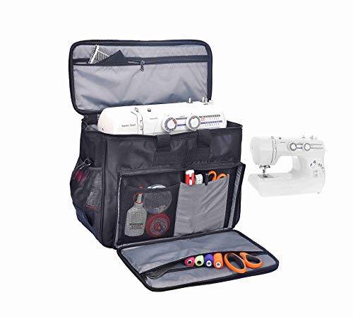 AHM Sewing Machine Carrying Bag with Removable Padding Pad, Stitching machine Silai machine Universal Tote Bag with Shoulder Strap Compatible with Most Standard Usha Janome, Singer, Brother Machines - Black - S