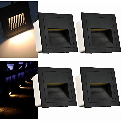 Arote - Juego de 4 lámparas led empotrables de pared iluminacion escalera led escalera empotrables (3 W, aluminio, 230 V, luz blanca cálida, IP65, impermeable), color negro