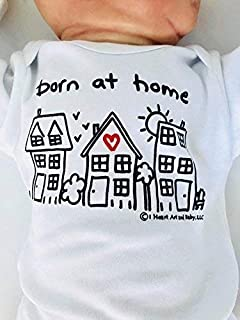 Newborn Born at Home Outfit, White, Long Sleeve, 0-3 Months, Gender Neutral Home Birth, Unisex Born at Home Shirt, Birth Announcement Outfit, Crunchy Mom Gifts