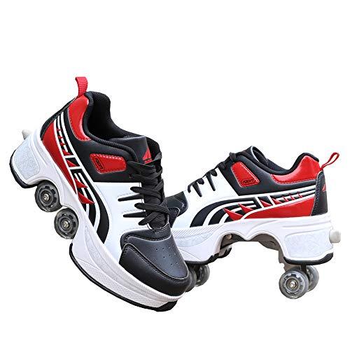 QINAIDI Pattini a rotelle per Uomo e Donna per Bambini, Scarpe con Ruote di deformazione, Scarpe da Tennis con rotelle Ruote per Bambini I Migliori Regali,Rosso,43