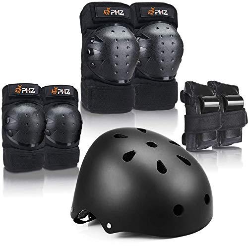 PHZ Schoner Set Knieschoner Inliner Kinder mit Verstellbaren Helm Protektoren Skateboard Helm Set Fahrrad Schützer Sport Schutzausrüstung