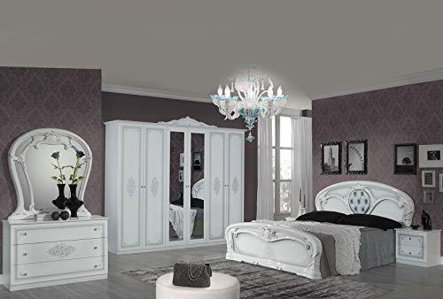 Tamara Laque Blanc Chambre À Coucher Baroque : L'ENSEMBLE avec L'Armoire 6 Portes + Le Lit 160/200 + Les 2 Chevets + La Commode + Le Miroir.