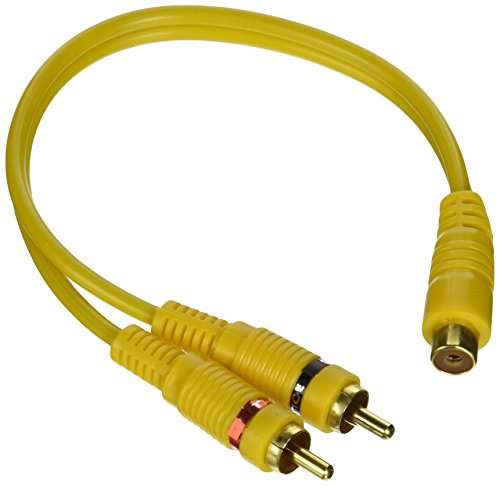 RCA Y Adapter Cable Splitter - 2-Male to 1-Female Audio Cord Extension with Gold-Plated Connectors for TV, CD DVD Player, Digital Audio, Amplifier or Subwoofer - GSI GNA2M