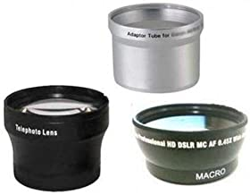 Wide + Tele Lens + Tube Adapter bundle for Canon Powershot A570IS, Canon A590, Canon A590IS