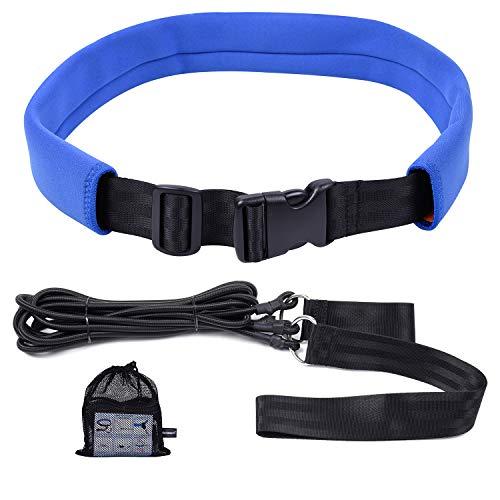 Wisdompro Swim Training Belts, Swim Bungee Cords Resistance Bands, Swim Tether Stationary Swimming, Swim Harness Static Swimming Belt - Blue