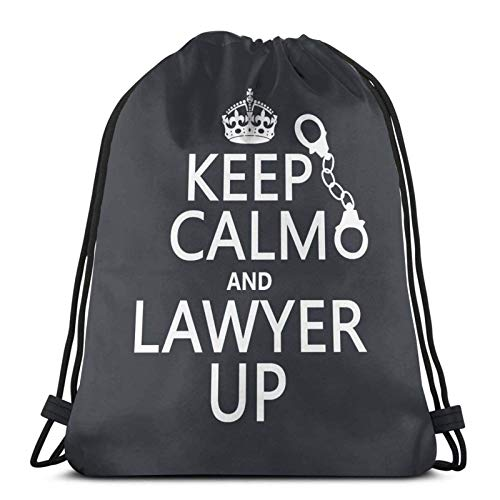 Lmtt Mochila con cordón Bolsa de viaje Mochila deportiva para gimnasio Mantenga la calma y al abogado para arriba
